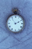 Pocket Watch with White Face And Roman Numerals in Block of Ice Photographic Print by Den Reader