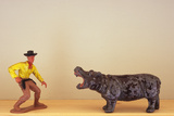 Model Cowboy And Hippopotamus Photographic Print by Den Reader