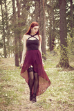 Young Redhead Woman in a Dress and Stockings Looking Down Photographic Print by Josefine J??nsson