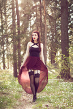Young Redhead Woman Walking Towards Camera Looking Up in Stockings Photographic Print by Josefine J??nsson