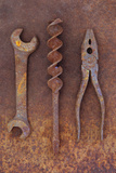 Rusty Old Double-headed Spanner Lying Next To Large Drill Bit And Rusty Pliers On Rusty Metal Sheet Photographic Print by Den Reader