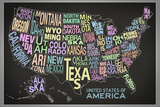 United States of America Stylized Text Map (Black) Poster Posters