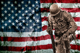 Solider Statue and American Flag by Identical Exposure Poster Photo