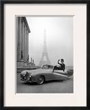 Model Wearing Jacques Fath Ensemble Beside 1947 Model Delahaye Automobile Framed Photographic Print by Tony Linck