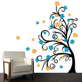 Curly Tree & Flowers in the Wind Yellow Wall Decal Wall Decal