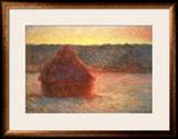 Haystacks at Sunset, Frosty Weather, 1891 Framed Giclee Print by Claude Monet