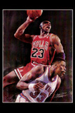 Michael Jordan (Dunking Over Ewing) Sports Poster Print