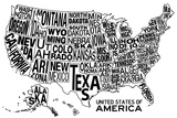 United States of America Stylized Text Map Poster Posters