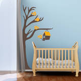 Half Tree & Birdhouse Yellow Wall Decal Wall Decal