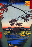 Utagawa Hiroshige Japanese Maple Trees at Mama Poster Print by Utagawa Hiroshige