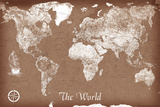 Vintage Style Map of the World Poster Print