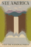 See America Visit National Parks Tourism Travel Vintage Ad Poster Prints