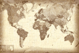 Vintage Style World Map Poster Prints