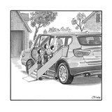 Family entering their SUV with the aid of a large airline style wheel-up r… - New Yorker Cartoon Premium Giclee Print by Harry Bliss
