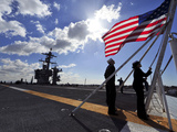 Sailors Shift the Colors Aboard the Aircraft Carrier USS Carl Vinson Photographic Print by Stocktrek Images