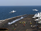 F/A-18F Super Hornets Launch Simultaneously from the Aircraft Carrier USS John C. Stennis Photographic Print by Stocktrek Images