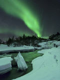 Aurora Borealis Over a Frozen Tennevik River, Troms, Norway Photographic Print by Stocktrek Images