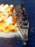 Battleship USS Iowa Firing Its Mark 7 16-inch/50-caliber Guns Photographic Print by Stocktrek Images