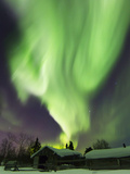 Aurora Borealis And the Big Dipper Above a Log Cabin at Whitehorse, Yukon, Canada Photographic Print by Stocktrek Images