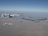 Two A-10C Thunderbolt's Prepare To Refuel from a KC-135 Stratotanker Photographic Print by Stocktrek Images