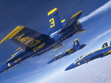 F/A-18 Hornets of the Blue Angels Fly in Formation Over Colorado Photographic Print by Stocktrek Images