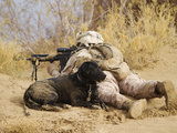 U.S. Marine And a Military Working Dog Provide Security in Afghanistan Photographic Print by Stocktrek Images