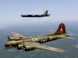 A B-17G Flying Fortress Participates in a Heritage Flight with a B-52H Stratofortress Photographic Print by Stocktrek Images