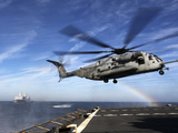 A CH-53E Super Stallion Prepares To Land On USNS Arctic Photographic Print by Stocktrek Images