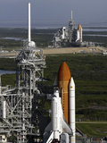 Space Shuttle Atlantis And Endeavour Sit On Their Launch Pads at Kennedy Space Center Photographic Print by Stocktrek Images