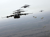 C-17 Globemaster IIIs Participate in a Large Formation Exercise Photographic Print by Stocktrek Images
