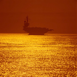 Aircraft Carrier at Sunset Photographic Print by Stocktrek Images