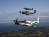 P-51 Cavalier Mustang with Supermarine Spitfire Fighter Warbirds Photographic Print by Stocktrek Images
