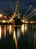 Holiday Lights Shine from Guided-missile Destroyer USS Russell Photographic Print by Stocktrek Images