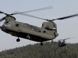 Two CH-47 Chinook Helicopters in Flight Photographic Print by Stocktrek Images