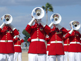 U.S. Marine Corps Drum And Bugle Corps Performing Photographic Print by Stocktrek Images