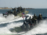 Riverine Command Boats And Security Boats Practice Maneuvers Photographic Print by Stocktrek Images