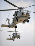 Two Multi-mission MH-60R Sea Hawk Helicopters Fly in Tandem Photographic Print by Stocktrek Images