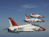 U.S. Navy T-45 Goshawk Training Aircraft Fly in Formation Photographic Print by Stocktrek Images