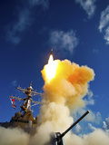 The Aegis-class Destroyer USS Hopper Launching a Standard Missile 3 Blk IA in Kauai, Hawaii. Photographic Print by Stocktrek Images