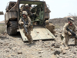 US Marines Disembark An Amphibious Assault Vehicle in Djibouti Fotografisk tryk af Stocktrek Images