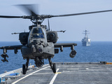 An Army AH-64D Apache Helicopter Takes Off from USS Ponce Photographic Print by Stocktrek Images