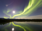 Aurora Borealis And Full Moon Over the Yukon River, Canada Photographic Print by Stocktrek Images