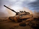 Marines Roll Down a Dirt Road On Their M1A1 Abrams Main Battle Tank Photographic Print by Stocktrek Images