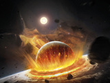 Apocalyptic Space Scene with Two Colliding Planets Photographic Print by Stocktrek Images