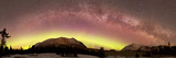 Aurora Borealis, Comet Panstarrs And Milky Way Over Yukon, Canada Photographic Print by Stocktrek Images
