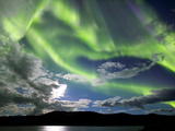 Aurora Borealis with Moonlight at Fish Lake, Yukon, Canada Photographic Print by Stocktrek Images