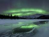 Reflected Aurora Over a Frozen Laksa Lake, Nordland, Norway Photographic Print by Stocktrek Images