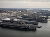Aircraft Carriers in Port at Naval Station Norfolk, Virginia Photographic Print by Stocktrek Images