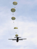 Students Jump from a C-130 Hercules Photographic Print by Stocktrek Images