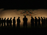 U.S. Marines Bowing Their Heads in Silence in Honor of Fallen Comrades Photographic Print by Stocktrek Images